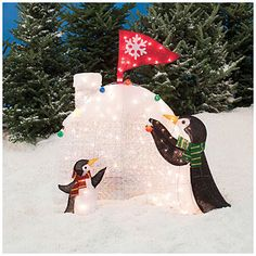 2 pre lit penguins igloo christmas winter ornament lawn home decoration - Big Lots Christmas Lawn Decorations