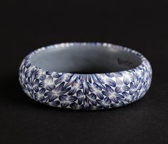 Blue and white flower bangle. Contemporary hand-made bracelet. Size medium. Unique One-Of-A-Kind designer piece by DoodlePippin