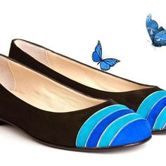 Leather ballerinas, handcrafted in Buenos Aires, Argentina. #butterfly #blue #leather #black #weloveballerinas #cruzesquivel