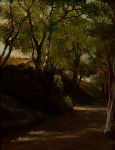 """In 'The Glen,' Portsmouth, Rhode Island,"" John La Farge, ca. 1859, oil on composition board, The Mint Museum. The area known as The Glen in Portsmouth includes the Glen Stables and the Glen Manor House. The true Glen is privately owned, a beautiful piece of property with a stream running though a narrow valley down to the Sakonnet, but it's currently in terrible state of disrepair.  It's on the market and I would love to see it spruced up and opened to the public as a park."