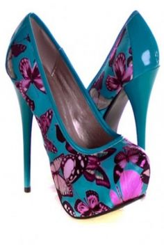 Turquoise Faux Satin Butterfly Print High Heels