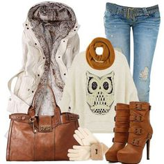 Gorgeous wool coat,sweater,scarf,handbag,shoes & jeans