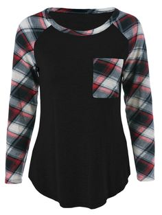 single pocket plaid sleeve t-shirt in black ~ also in deep blue, gray, shallow pink, and wine red Top Fashion, Plus Size Fashion, Womens Fashion, Fashion Site, Street Fashion, Curvy Fashion, Fashion Clothes, Fashion Trends, Girl Clothing