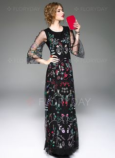 Dresses+-+$132.92+-+Polyester+Silk+Floral+3/4+Sleeves+Maxi+Vintage+Dresses+(1955108492)