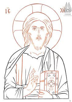 Christ, drawing from Versta. Religious Icons, Religious Art, Stella Art, Coloring Books, Coloring Pages, Jesus Drawings, Paint Icon, Russian Icons, Byzantine Icons