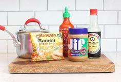 Spicy Peanut Butter Ramen |   - Soy sauce - Chunky peanut butter - Sriracha hot sauce - Ramen noodles flavoring package* - Scallion*