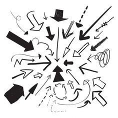 ベクトル手描きの矢印 無料ベクター