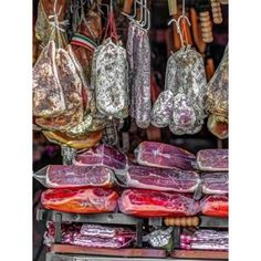 Various salami hanging in a window of an Italian Salami shop Rome Italy Canvas Art - Assaf Frank (18 x 24)