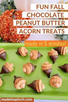 This easy recipe for Peanut Butter Chocolate Acorns is a no bake sweet treat that is ready in just 5 minutes and perfect for the fall months! They are GREAT for any fall event or even just a night at home with the kids! #fallrecipes #Thanksgivingrecipe #easyrecipe #snack #peanutbutter #chocolate #treat | @madeinapinchcom