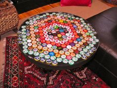 DIY Bottle Cap Table --- i have a table already. need to drink more beer for caps! Beer Cap Table, Bottle Cap Table, Bottle Cap Art, Bottle Top, Diy Bottle, Beer Bottle, Bottle Vase, Bottle Cap Projects, Bottle Cap Crafts