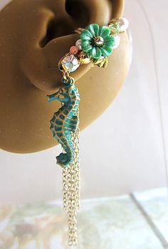 AHHHH Green Seahorse Ear Cuff Earring Sea Ocean by aldesigns on Etsy, $48.00