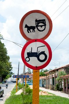 An interesting sign for sure in Vinales, Cuba. Beware of horse carriages?