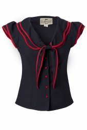 Red trim black sailor top