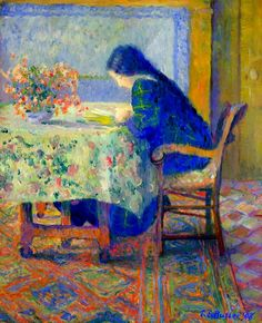 Lili Reading at the Butler House, Giverny (1908). Theodore Earl Butler (1861-1936), American Impressionist. Oil on canvas.