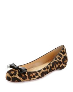 Simplenodo, leopard, Calf Hair Red-Sole, Bow, Flats. by Christian Louboutin at Bergdorf Goodman.