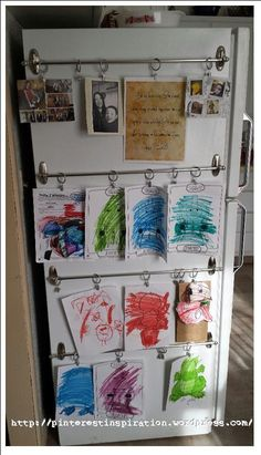 Kid Art Display with command hooks cool idea especially for apartment living!!
