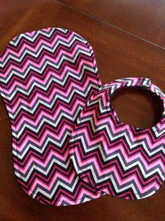 Chevron 2 piece Baby bib and Burp cloth set by DazzlingCinsations, $12.00