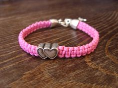 heart bracelet valentines day for her pink silver by MageBraids
