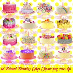 There are16 indivitually painted birthday cakes  at 300 dpi png files Can be used for banners, invitations, showers, birthday party favors and  decorations and anything you can imagine.  Products are for personal and small commercial use.  You may:  -use them for personal projects (invites, ...