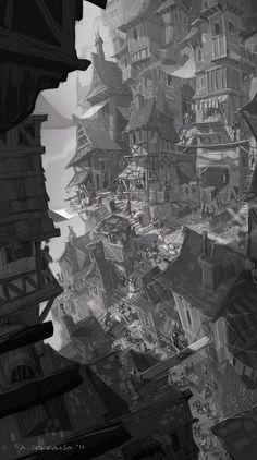 Official website of Visual Development artist Armand Serrano. Fantasy City, Fantasy Places, Ville Cyberpunk, Art Environnemental, Illustration Art, Illustrations, Fantasy Setting, Blender 3d, Visual Development