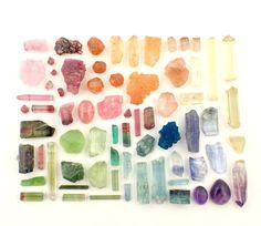 This collection contains the following: Rose Quartz, Brazil 1gm Tourmaline, Myanmar .8gm Tourmaline, Brazil .6gm Tourmaline, Nigeria .2gm