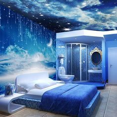 Space themed bedroom - Fantastic Painting Decor Ideas for Your Bedroom Wall Girl Bedroom Designs, Bedroom Themes, Bedroom Decor, Bedroom Boys, Bedroom Night, Blue Bedroom, Decor Room, Bedroom Apartment, Apartment Ideas