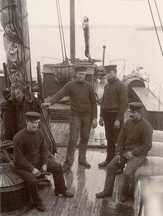 "Steamer crew, Lysekil, Sweden Crew on the steamer ""Västkusten"". 1880s"