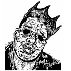 """The Notorious B.I.G. Infected - by The Ghost-  ink on paper """"It was all a dream."""" #notoriousbig #notorious #rapper #king #biggiesmalls #biggie #art #streetart #theghost #ghost #thewalkingdead #dead #skull #zombie #tx #texas"""