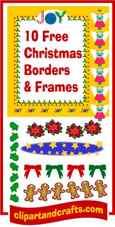 Christmas clip art borders, frames and border paper sheets, printable freebies for personal use at clipartandcrafts.com