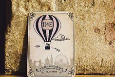 Their greatest adventure yet! Balloon/travel inspired wedding stationery.  http://stevegerrardphotography.com/