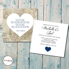 Vintage Map Double Sided Wedding Invitation // Square Invitation // Invitation Box // DIY Printable