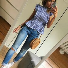 Blue Friday t blouse(coactuelle)/jean(old) baskets sac College Outfits, Outfits For Teens, New Outfits, Trendy Outfits, Cute Outfits, Fashion Outfits, Blouse Outfit, Look Fashion, Celine