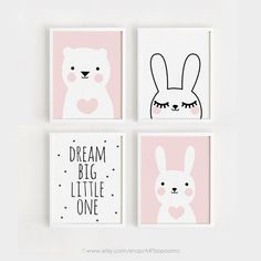 Printable Nursery Art Set of 4 Poster Baby Girls room Wall art Pink Decor Bear and Bunny print Dream Big Digital file INSTANT DOWNLOAD