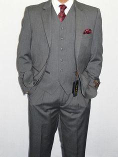 1920s style Mens Three Piece Vested Suit Mini Herringbone Gray $175.00 AT vintagedancer.com