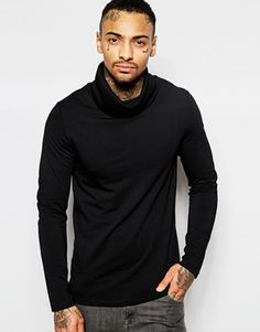 ASOS Muscle Long Sleeve Top with Funnel Neck In Black