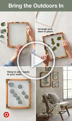 Find your favorite stems or flowers and arrange them in decorative wood frames for stand-out wall art.