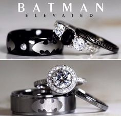 Batman Inspired Unique Sterling Silver Tungsten Natural Black Onyx And Cubic Zirconia Wedding Set, Jewelry Gift for Man