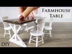 Miniature DIY Farmhouse Table - YouTube