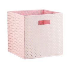 Polka Dots KD Storage Bin Pink (31 BRL) ❤ liked on Polyvore featuring home, home decor, small item storage, pink, polka dot home decor, gold home decor, polka dot storage bins, polka dot bins and storage bins