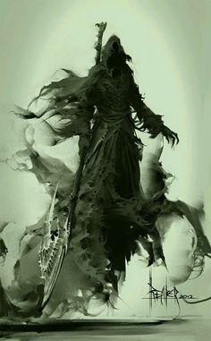 Thanatos IS the grim reaper of Greek mythology. Dark Fantasy Art, Fantasy Kunst, Dark Art, Character Art, Character Design, Art Noir, Arte Obscura, Vampire, Angels And Demons