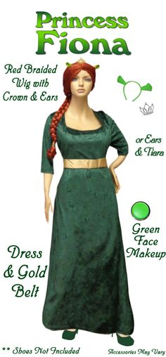 NEW! Plus Size Princess Fiona Costume from Shrek! Plus Size And Supersize Halloween Costume + Add Accessories! Sizes Sm to 9x