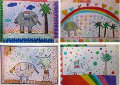 ELEFANTE CON PALMERA: Grafismos realizados con rotuladores de colores. ( 3º de EP).