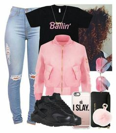 A fashion look from March 2016 featuring WearAll jackets, NIKE shoes and Michael Kors wallets. Browse and shop related looks. Nike Outfits, Swag Outfits For Girls, Cute Swag Outfits, Teenage Girl Outfits, Cute Outfits For School, Teen Fashion Outfits, Teenager Outfits, Trendy Outfits, Fitness Outfits