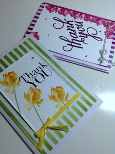 Thank you cards using Lotus Blossom Stamp Set by Stampin' Up!. to order online or see more pictures and ideas please visit www.bibicameron.stampinup.net