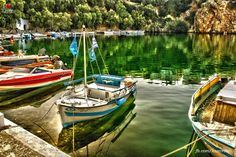 Lake in Agios Nikolaos Crete Greece Crete Greece, My Town, Wooden Boats, Beach Art, Greece Travel, Holiday Destinations, The Locals, Places To Travel, Palace