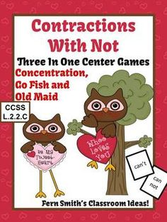 St. Valentine's Day Not Contractions Center Games, Task Cards, Printables and Interactive Notebook Activities for Common Core! #TPT $Paid #TeachersFollowTeachers #FernSmithsClassroomIdeas #ValentinesDay