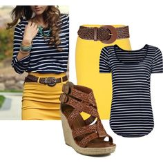 Yellow skirt and stripes. I'd change the shoe color (plus the belt, I think) to something a little more fun, but I like the skirt/shirt pairing.