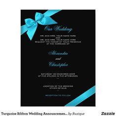Shop Turquoise Ribbon Wedding Invitation Announcement 2 created by Ruxique. Simple Wedding Invitations, Zazzle Invitations, Invites, Wedding Announcements, Ribbon Wedding, Ink Color, Simple Weddings, Rsvp, Bridal Shower