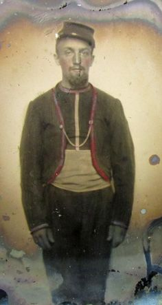 Lightly tinted image on glass of a Union Zouave which is tentatively identified as the 35th New Jersey. - See more at: http://www.stewartsmilitaryantiques.com/us-civil-war-16th-plate-ambrotype-zouave-soldier.30705.htm#sthash.d9gjdmJ8.dpuf