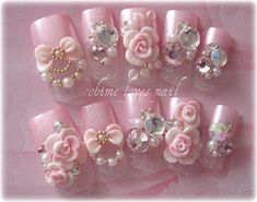 Pearly Pink Hime 3D Roses Japanese nails